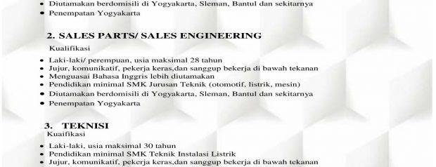 Lowongan PT. Mastrada Surya Yogyakarta
