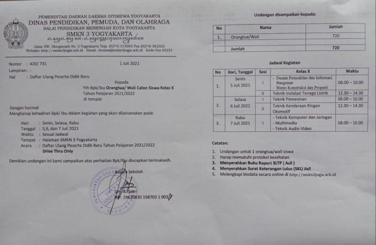 Informasi Daftar Ulang Peserta Didik Baru 2021/2022